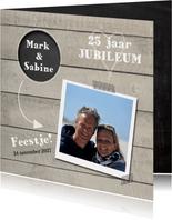 Jubileumkaart hout met cirkel