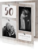 Jubileumkaart hout met foto's en spijkers