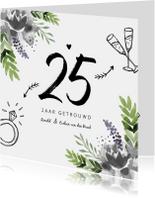 Jubileumkaart huwelijk bloemen stijlvol en hip