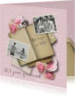 Jubileumkaart huwelijk romantisch rozen
