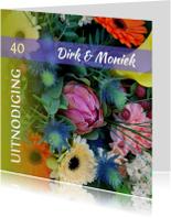 Jubileumkaart kleurrijke bloemen