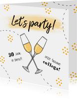 Jubileumkaart medewerker x jaar in dienst champagne feest