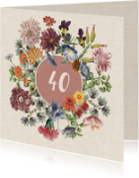 Jubileumkaart met bloemenkrans