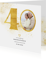 Jubileumkaart met gouden 40 en foto