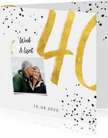 Jubileumkaart met gouden 40, spetters en foto