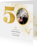 Jubileumkaart met gouden 50 en foto