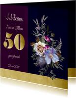 Jubileumkaart oude meesters paars goud jaartal aanpasbaar
