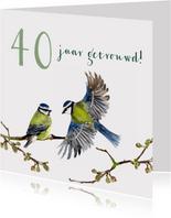 Jubileumkaart Romantische vogels