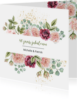 Jubileumkaart rozen eucalyptusblad