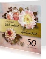 Uitnodiging jubileum stijlvolle bloemen oude meesters roze