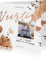 Jubileumkaart 'veertig' met polaroid en koper waterverf