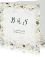 Jubileumkaart witte rozen en anemonen