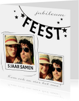 Jubileumkaarten - Jubileumkaart zwart-wit feest