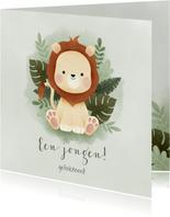 Jungle felicitatiekaart voor jongen met leeuwtje