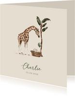 Jungle geboortekaartje giraf mandje met groene ballon