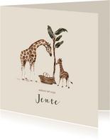 Jungle geboortekaartje giraffen tweede kindje