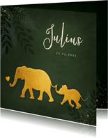 Jungle geboortekaartje jongen met gouden silhouet olifant