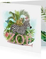 Jungle geboortekaartje met zebra en aapje en vlinders
