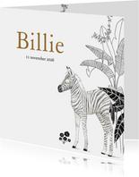 Jungle geboortekaartje met zebra en botanische planten
