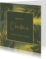 Jungle kerstkaart met goud en grunge