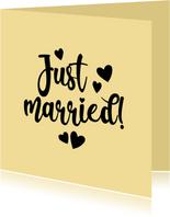 Just married - black and colour - felicitatiekaart