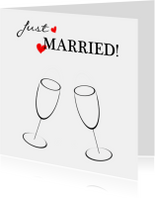 Just married black white red