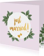 Just married - botanische huwelijkskaart