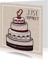 Felicitatiekaarten - Just married bruidstaart