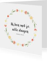 Kaart bloemenkrans, bijbeltekst naar keuze