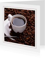 Kaart koffie en koffiebonen