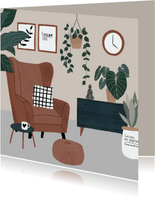 Kaart met botanische illustratie 'Nieuwe woning'
