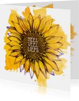 Kaart met gele zonnebloem en heel veel liefs