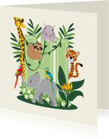 Kaartje met lieve jungledieren die hi zeggen