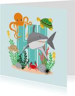 Kaartje met stoere dieren uit de zee die hi zeggen