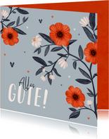 Karte 'Alles Gute' Blumen & Herzen