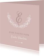 Karte Glückwunsch Taufe Olivenzweig rosé