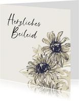 Karte Herzliches Beileid Sonnenblumen in Aquarell