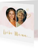 Karte zum Muttertag Wasserfarbe und Fotos in Herz
