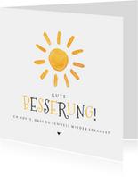 Karte zur guten Besserung gezeichnete Sonne
