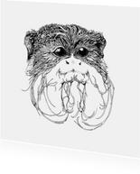 Keizer-tamarin aapje illustratie zwart-wit