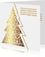 Kerskaart kerstboom goud op wit
