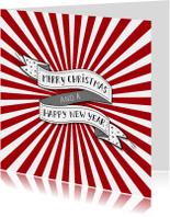 Kerst banner rode strepen