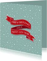 Kerst banner rood sneeuw