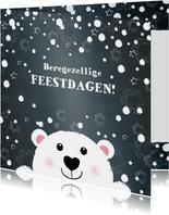 Kerst beregezellige feestdagen lief ijsbeertje in sneeuw