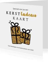 Kerst Cadeau-kaart goudkleurige glitter cadeautjes