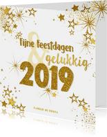 Kerst en nieuwjaars kaart moderne kaart goud vuurwerk 2019
