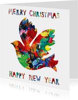 Kerst- en nieuwjaarskaart met een duif in mooie kleuren