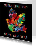 Kerst- en nieuwjaarskaart met een duif op zwarte achtergrond