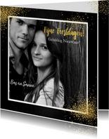 Kerst feestelijke fotokaart met vele gouden sterren