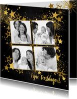 Kerstkaarten - Kerst feestelijke met vele gouden sterretjes  en 4 foto's